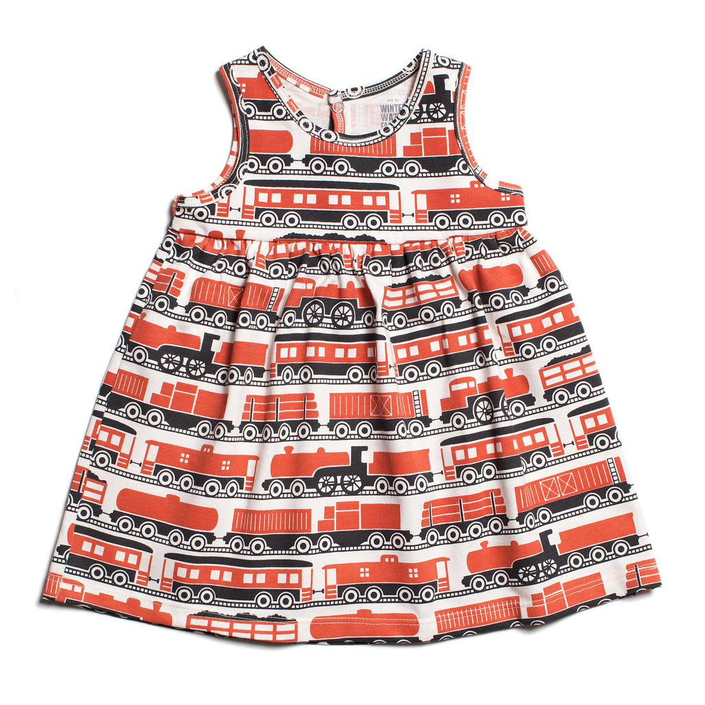 Oslo Baby Dress - Trains Orange