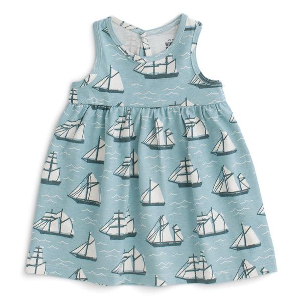 Oslo Baby Dress - Vintage Sailboats Ocean Blue & Teal