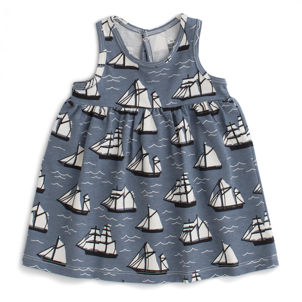 Oslo Baby Dress - Vintage Sailboats Slate Blue & Black