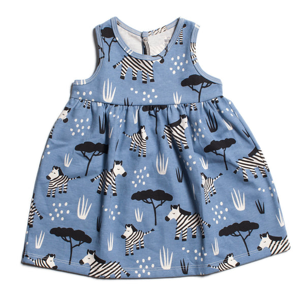 Oslo Baby Dress - Zebras Blue