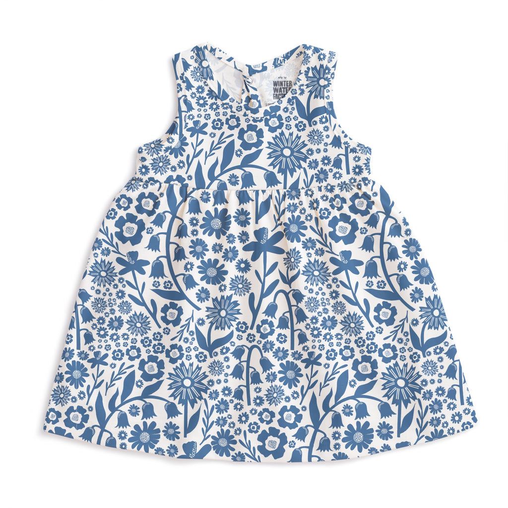Oslo Baby Dress - Dutch Floral Delft Blue