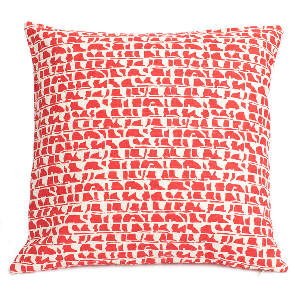 Belgian Linen Pillow Case - Corrugated Red