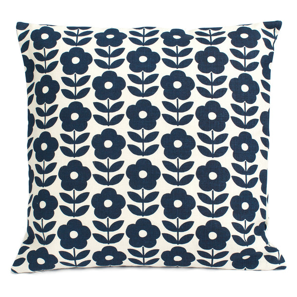 Belgian Linen Pillow Case - Danish Flowers Navy
