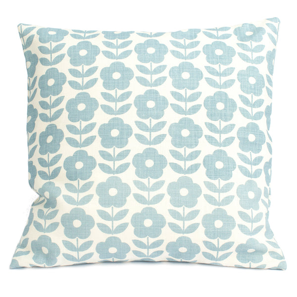 Belgian Linen Pillow Case - Danish Flowers Pale Blue