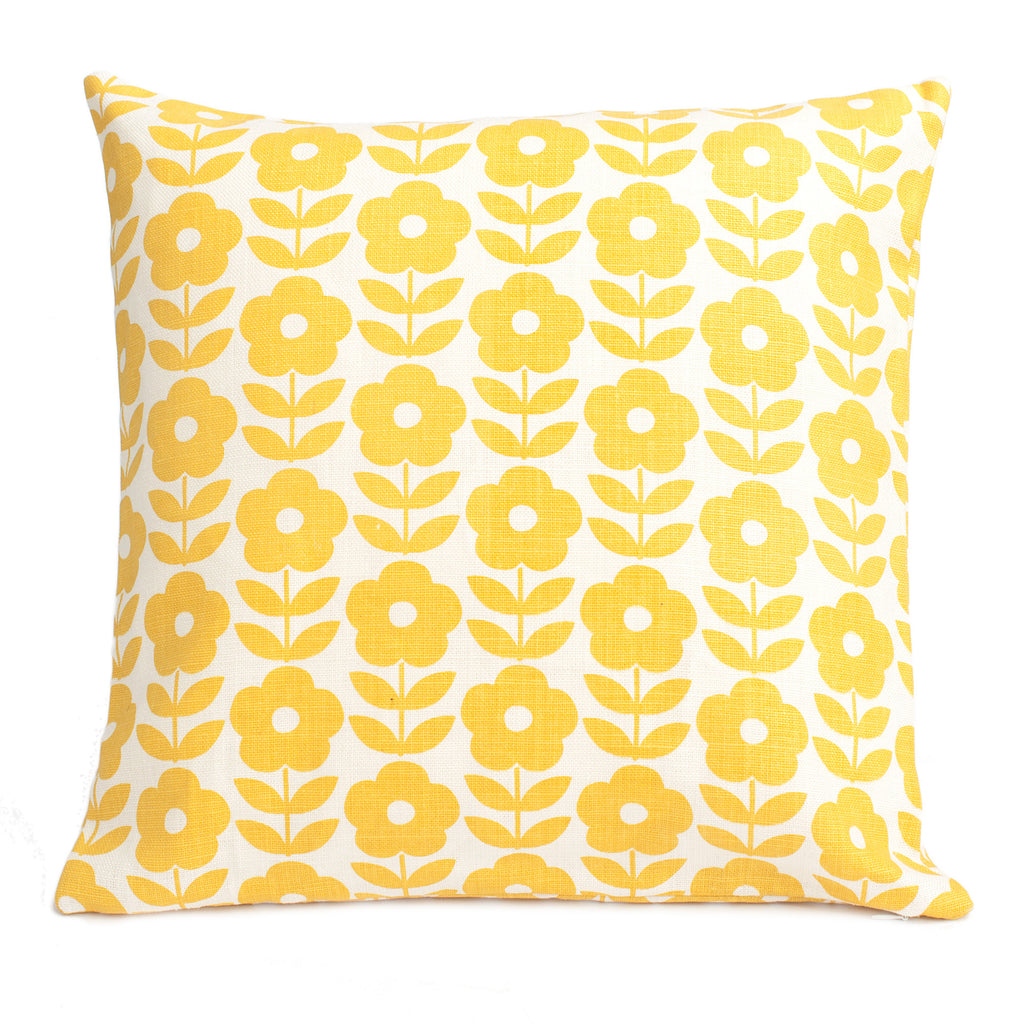 Belgian Linen Pillow Case - Danish Flowers Yellow