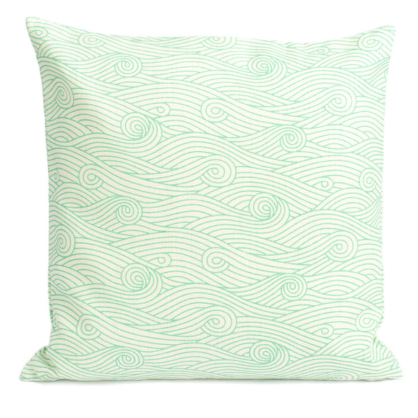 Belgian Linen Pillow Case - Ocean Waves Mint