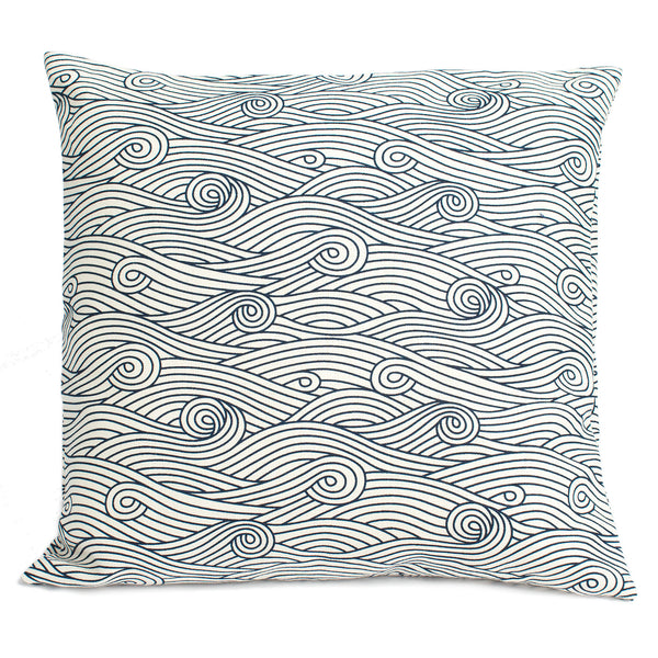 Belgian Linen Pillow Case - Ocean Waves Navy