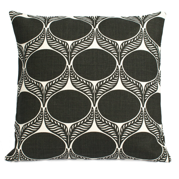Belgian Linen Pillow Case - June Leaf Charcoal