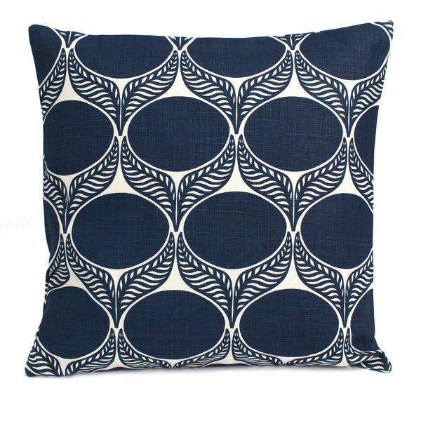 Belgian Linen Pillow Case - June Leaf Navy