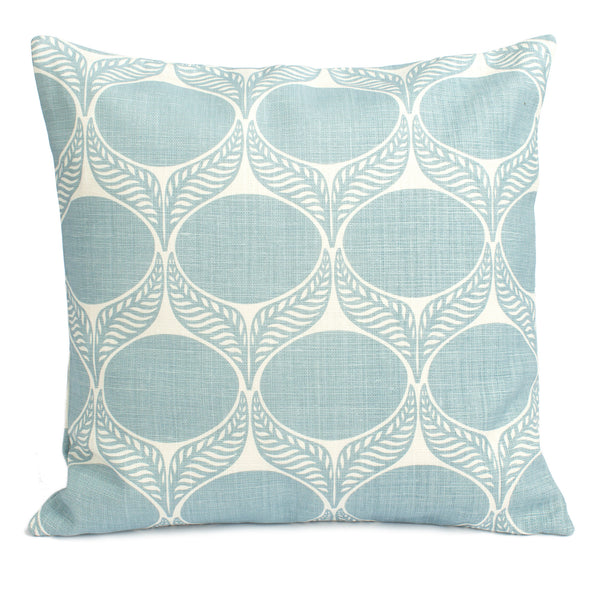 Belgian Linen Pillow Case - June Leaf Pale Blue