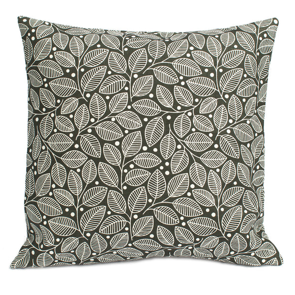 Belgian Linen Pillow Case - Leaves & Berries Charcoal