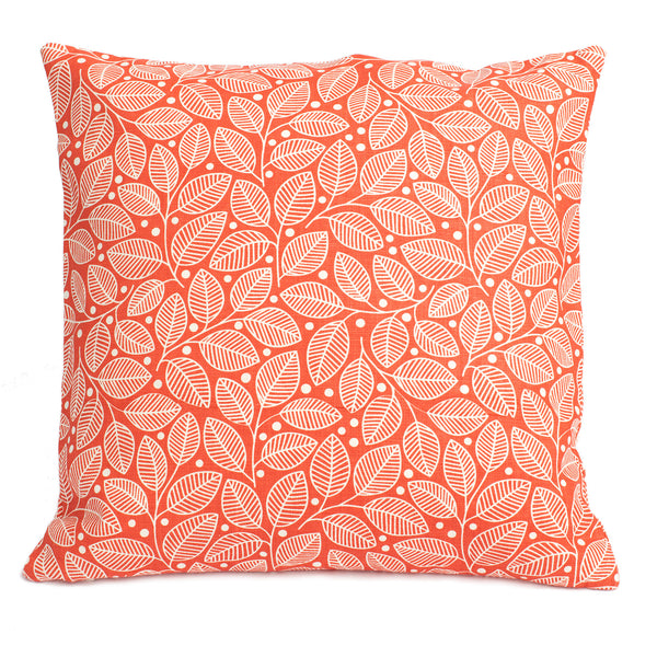 Belgian Linen Pillow Case - Leaves & Berries Coral