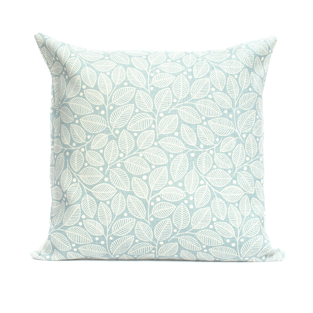 Belgian Linen Pillow Case - Leaves & Berries Light Blue