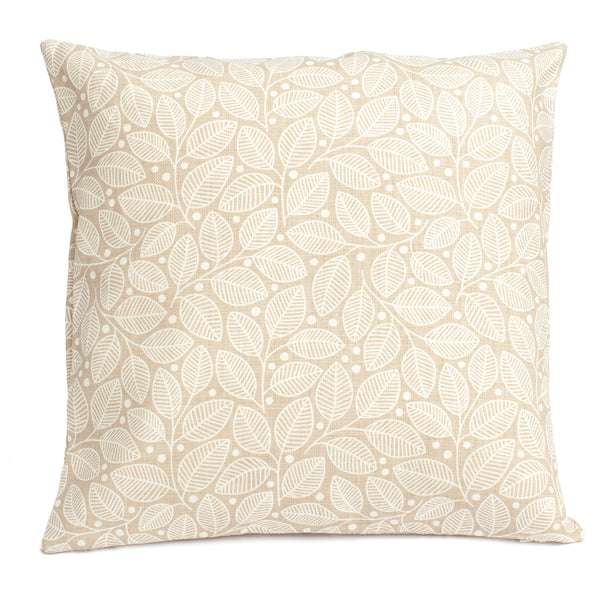 Belgian Linen Pillow Case - Leaves & Berries Taupe