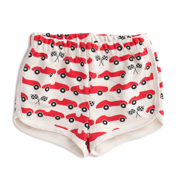 French Terry Shorts - Race Cars Red