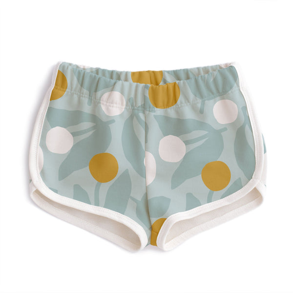 French Terry Shorts - Dahlias Pale Blue