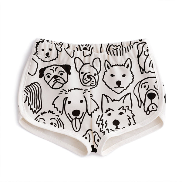 French Terry Shorts - Dogs Black
