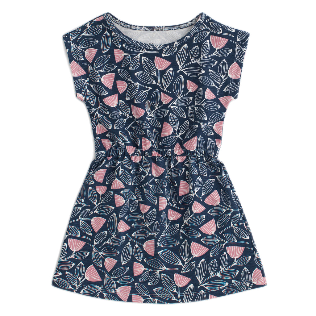 Sierra Dress - Holland Floral Midnight Blue & Dusty Pink