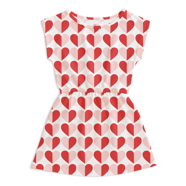 Sierra Dress - Hearts Red & Pink