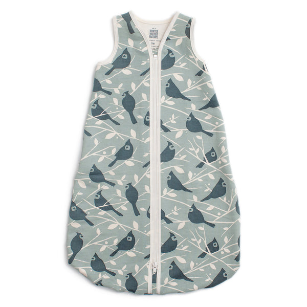 Organic Baby Sleep Bag - Birds In the Trees Blue