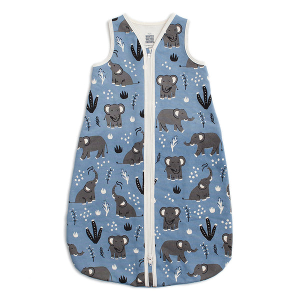Organic Baby Sleep Bag - Elephants Blue