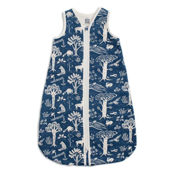 Organic Baby Sleep Bag - In the Forest Navy