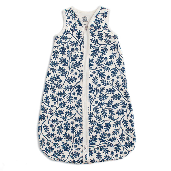 Organic Baby Sleep Bag - Oak Leaves Navy