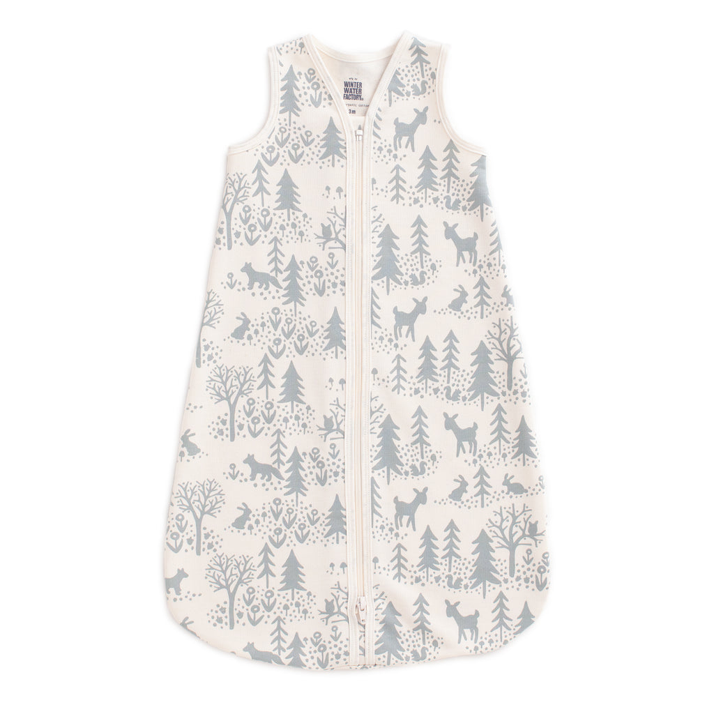 Organic Baby Sleep Bag - Winter Scenic Pale Blue
