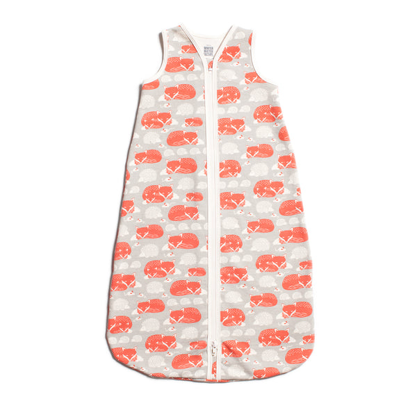 Organic Baby Sleep Bag - Foxes & Hedgehogs Grey & Orange