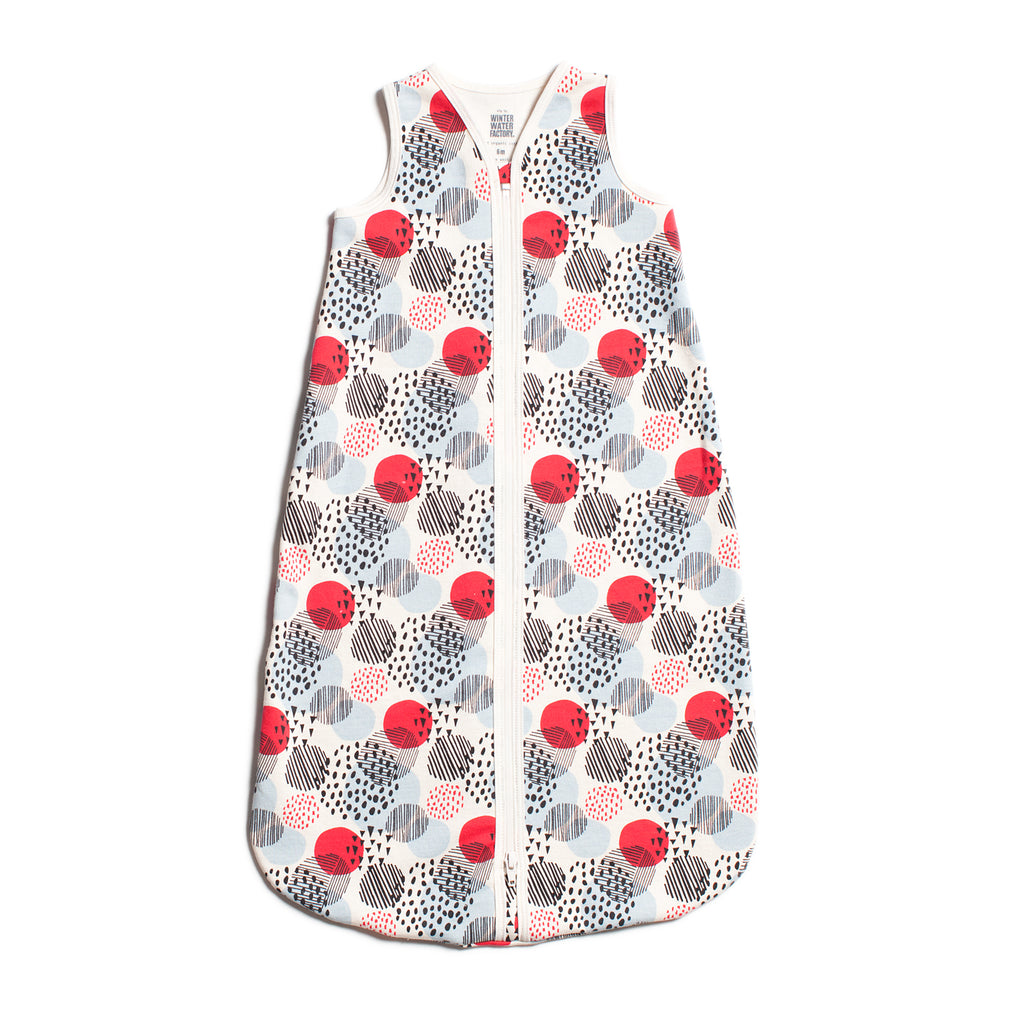 Organic Baby Sleep Bag - Modern Dots Winter Blue & Red