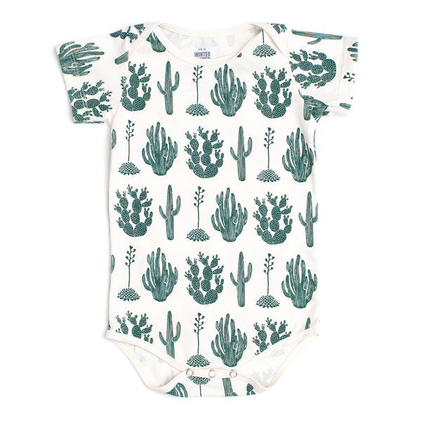Short Sleeve Snapsuit - Cactus Green