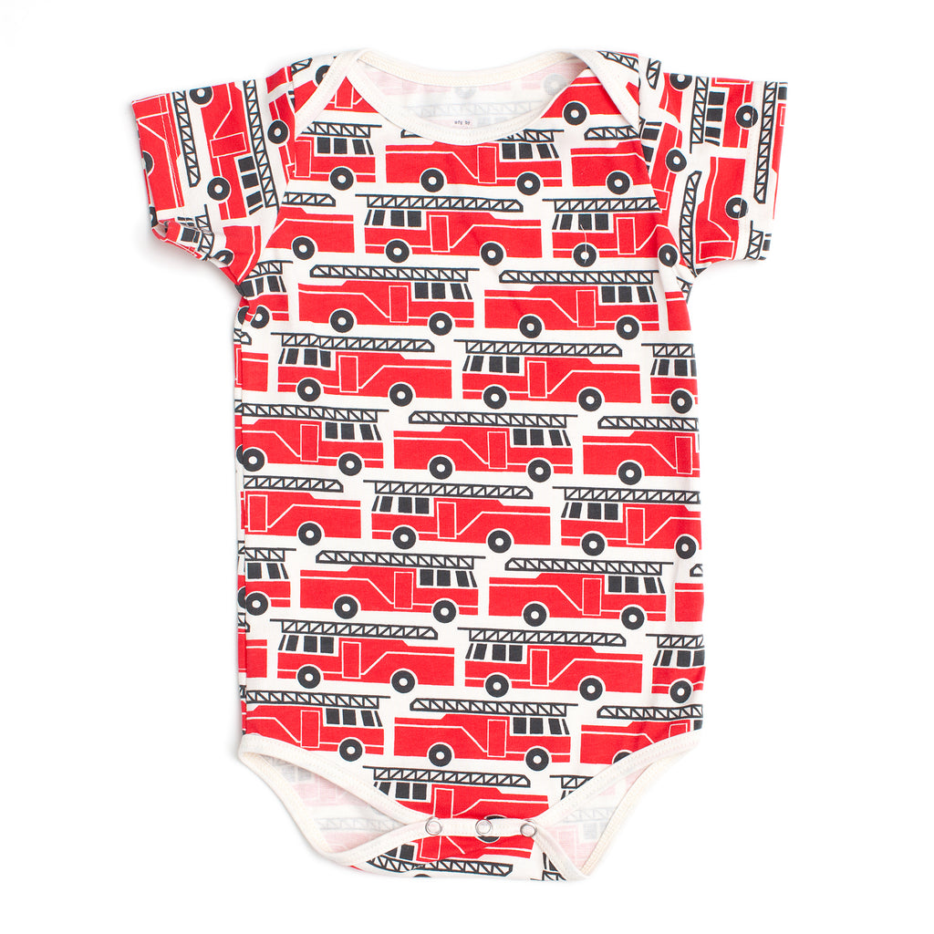 Short Sleeve Snapsuit - Firetrucks Red