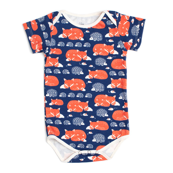 Short Sleeve Snapsuit - Foxes Navy & Orange