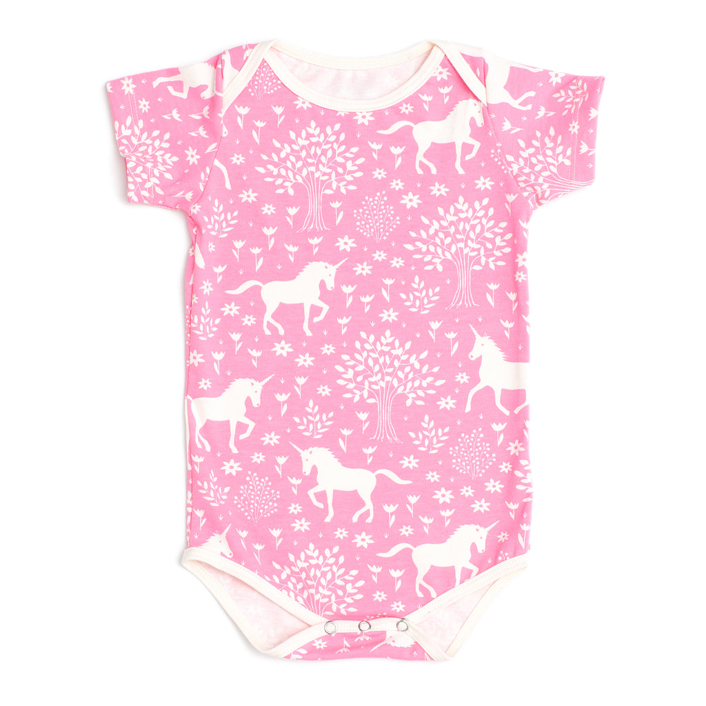 Short Sleeve Snapsuit - Magical Forest Pink