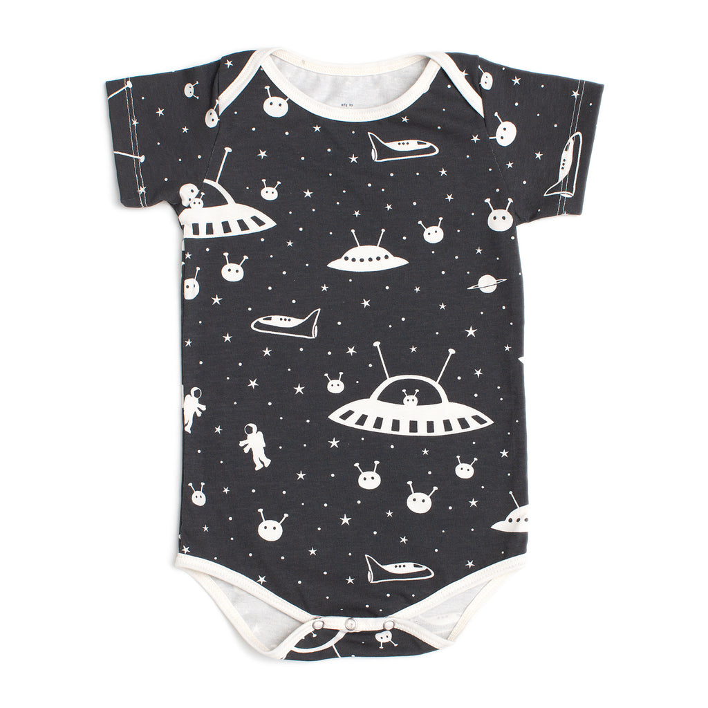 Short Sleeve Snapsuit - Outer Space Charcoal