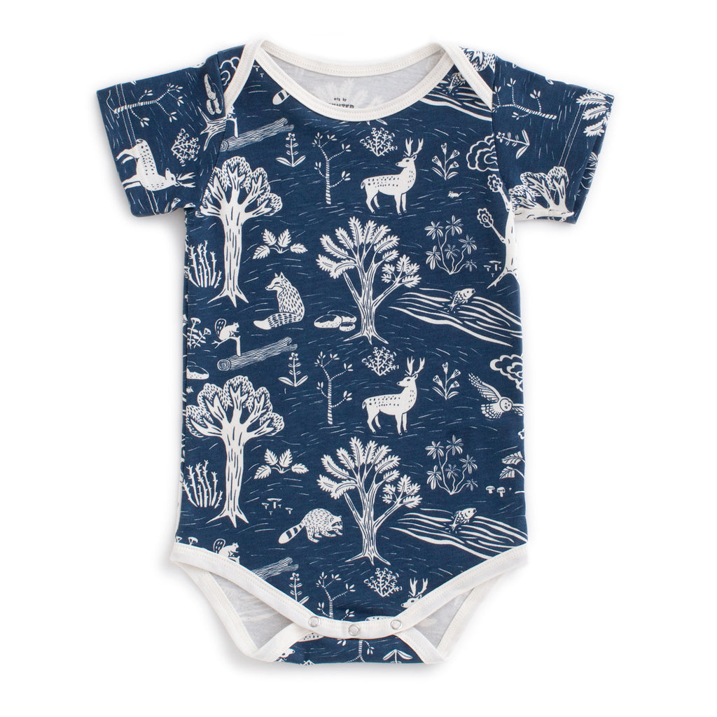 Short Sleeve Snapsuit - In the Forest Navy