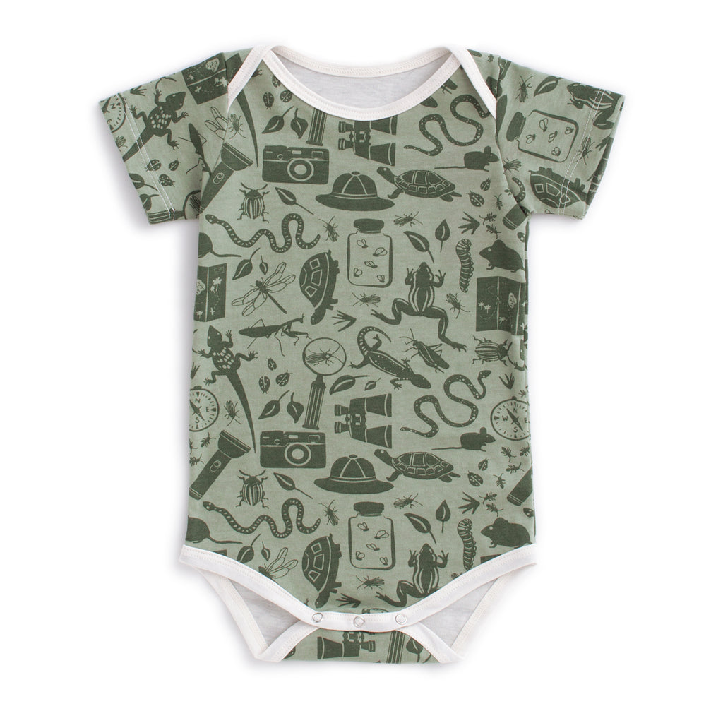 Short Sleeve Snapsuit - Nature Explorer Sage & Forest Green
