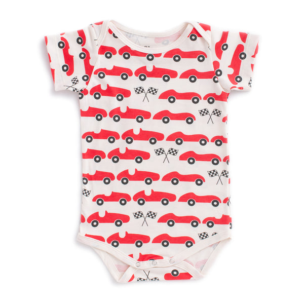Short Sleeve Snapsuit - Race Cars Red