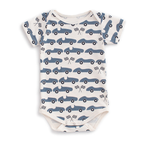 Short Sleeve Snapsuit - Race Cars Slate Blue
