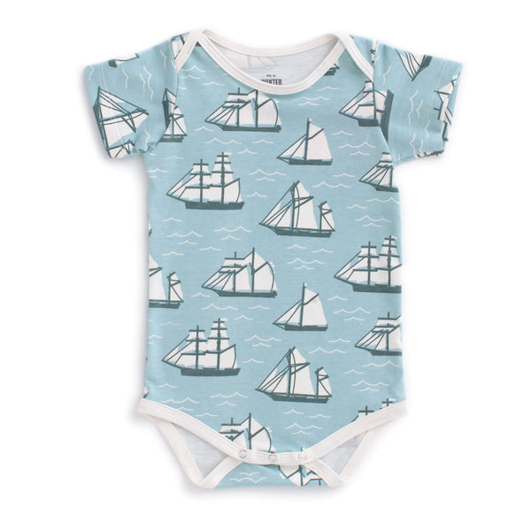 Short Sleeve Snapsuit - Vintage Sailboats Ocean Blue & Teal