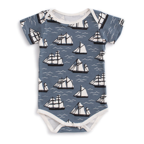 Short Sleeve Snapsuit - Vintage Sailboats Slate Blue & Black