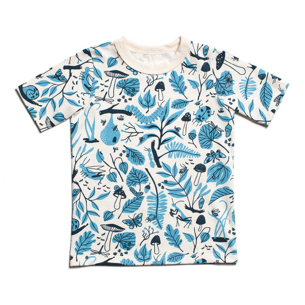 Short Sleeve Tee - Leaves & Bugs Blue