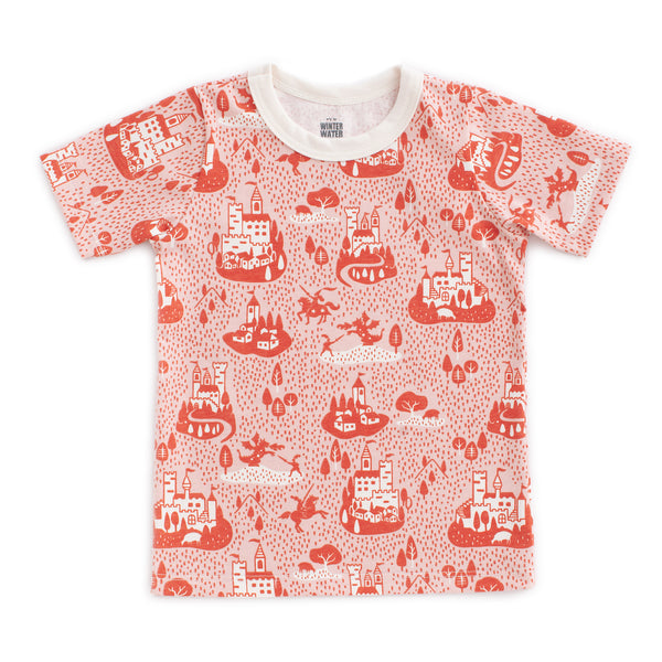 Short Sleeve Tee - Castles & Villages Pink & Orange