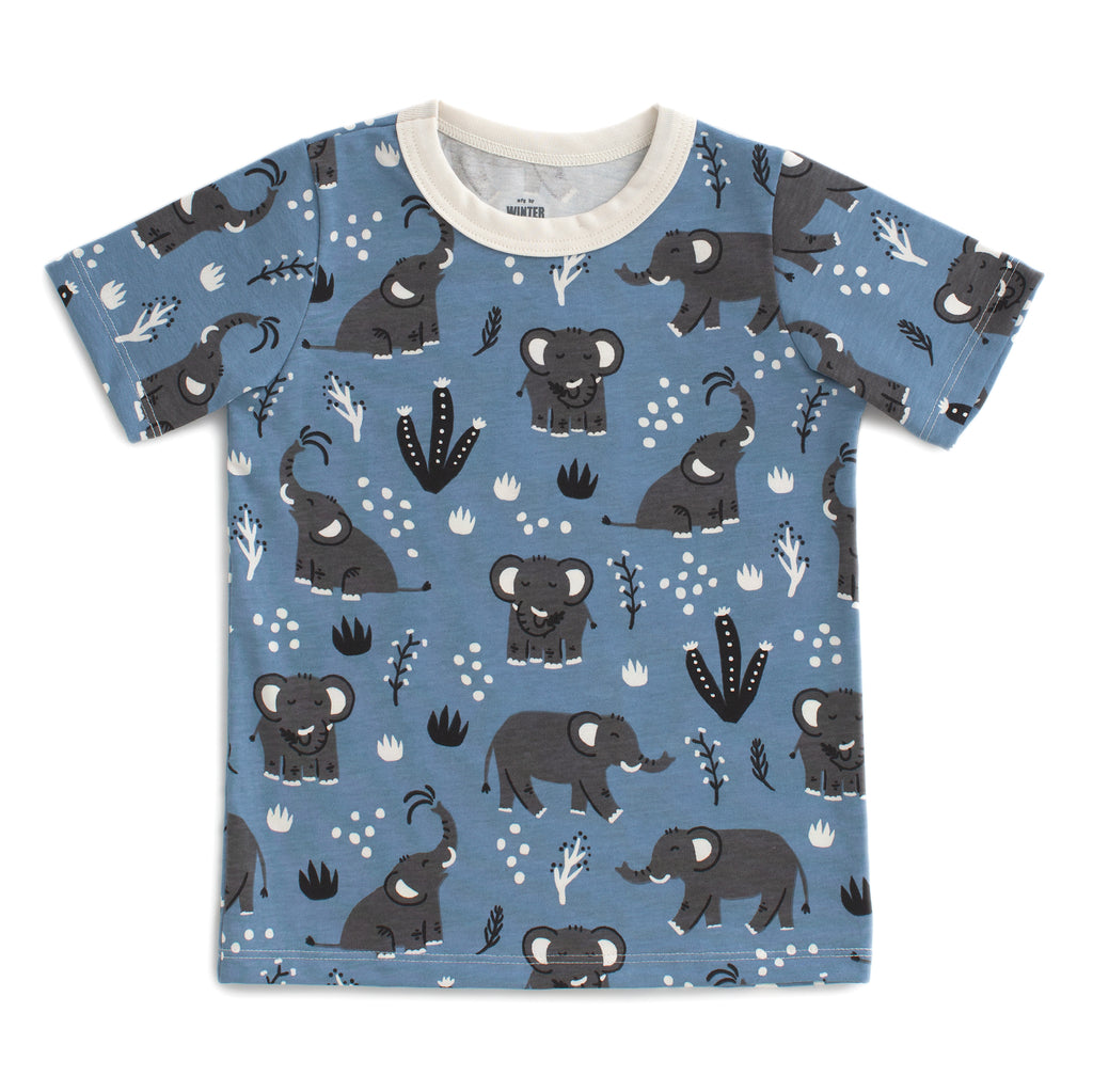 Short Sleeve Tee - Elephants Blue