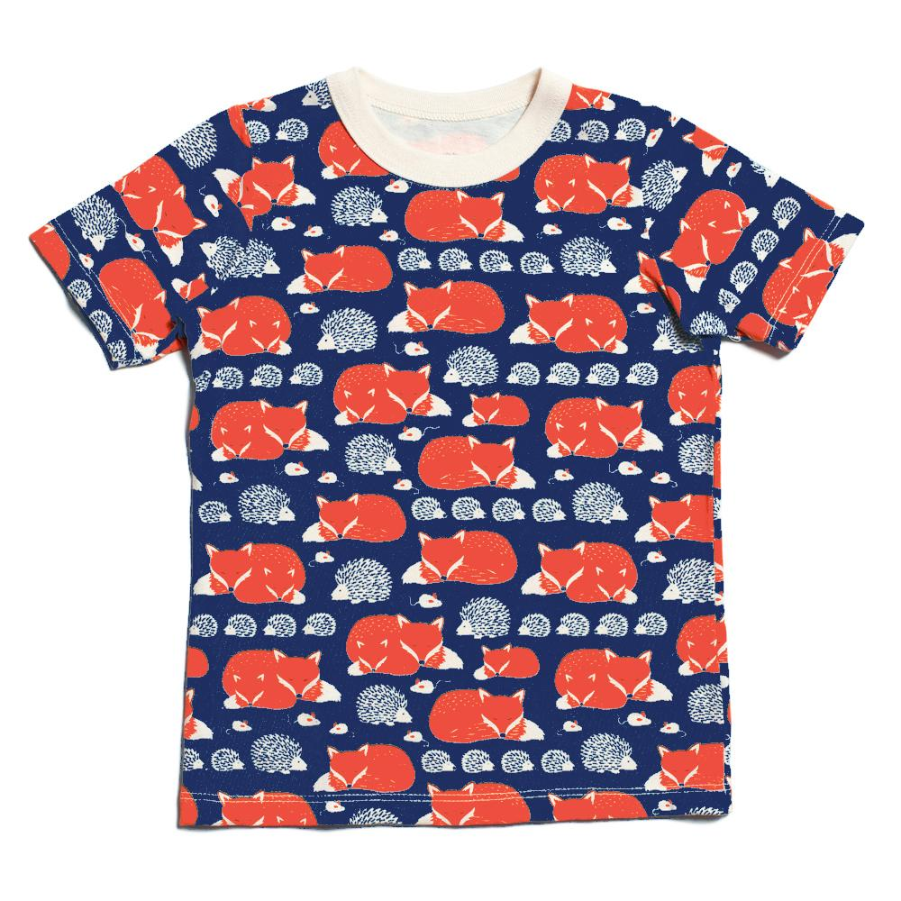 Short Sleeve Tee - Foxes & Hedgehogs Navy & Orange