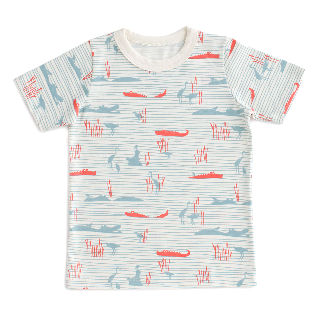 Short Sleeve Tee - Hippos & Crocodiles Ocean Blue & Coral