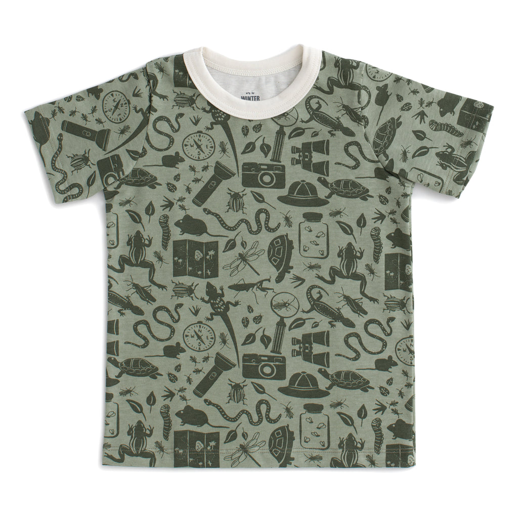 Short Sleeve Tee - Nature Explorer Sage & Forest Green