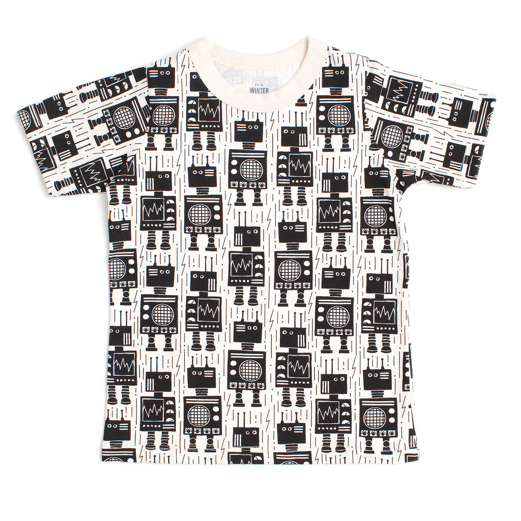 Short Sleeve Tee - Robots Black