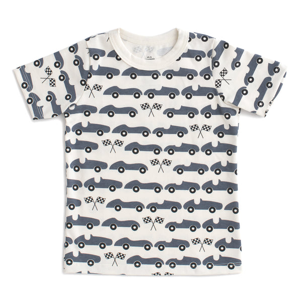 Short-Sleeve Tee - Race Cars Slate Blue