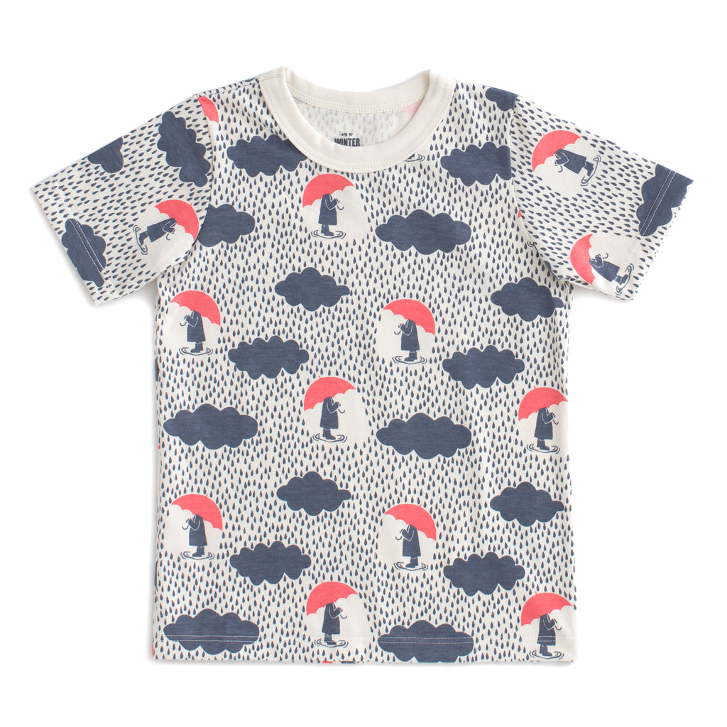 Short Sleeve Tee - Summer Rain Slate Blue & Coral